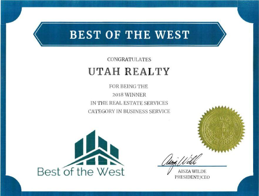Best of the West Award Utah Realty